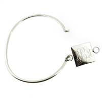 925 sterling silver with square monogram bracelet hinged cuff