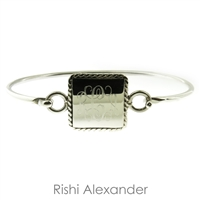 925 sterling silver Rectangular with rope edge monogram bracelet cuff hinged