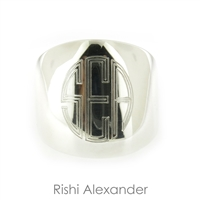 Rishi Alexander Sterling Silver Dome Ring Cigar Band Signet Ring Highly Polished