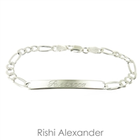 925 steling silver figaro id bracelet personalized name