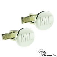 925 sterling silver oval cufflinks groomsmen or wedding gifts personalized monogrammed by Rishi Alexander