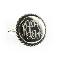 Rishi Alexander Sterling Silver round Signet Ring Highly Polished with a Rope Edge