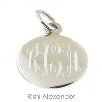 Rishi Alexander Sterling Silver personalized Round monogram pendant