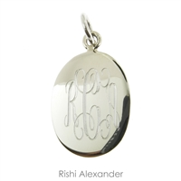 Rishi Alexander Sterling Silver personalized Oval monogram pendant