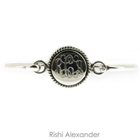 925 sterling silver round with rope edge monogram bracelet