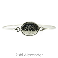 925 sterling silver oval with rope edge monogram bracelet