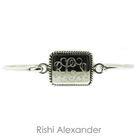 925 sterling silver Rectangular with rope edge monogram bracelet