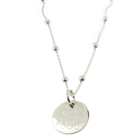 925 steling silver and freshwater ball bead monogram necklace