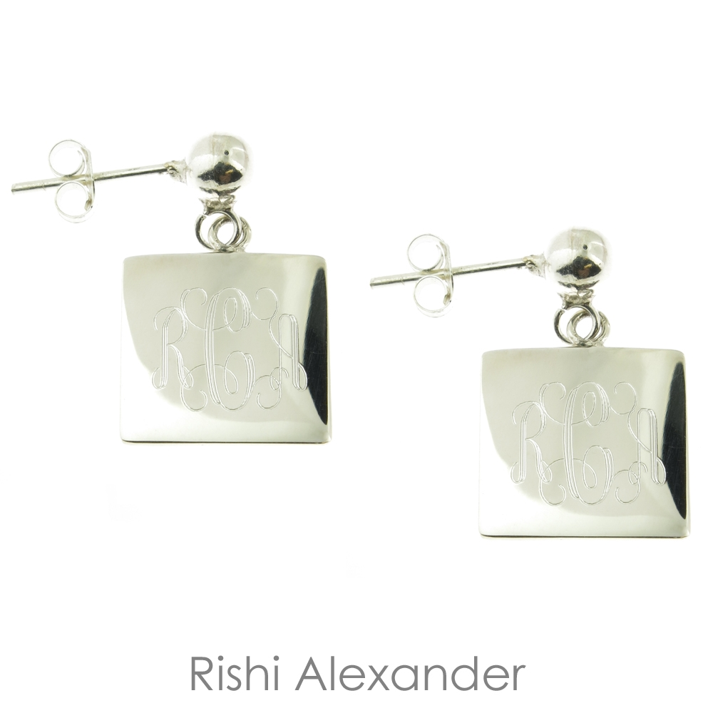87a37a0ae 925 sterling silver personalized engraved monogram earrings