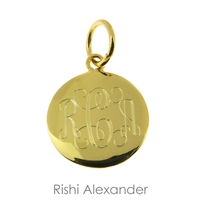 Rishi Alexander 14k gold over Sterling Silver Vermeil personalized round monogram pendant