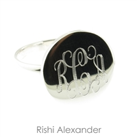 Rishi Alexander Sterling Silver Circle Signet Ring Highly Polished