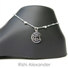 925 steling silver heart on diamond cut box  personalized engraved monogram anklet