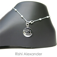 925 sterling silver diamond-cut oval moon bead personalized engraved monogram anklet