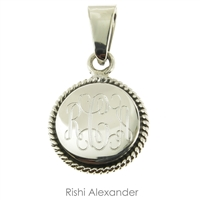 Rishi Alexander Sterling Silver personalized Round rope edge monogram pendant