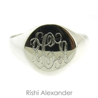 Rishi Alexander Sterling Silver round Signet Ring Highly Polished