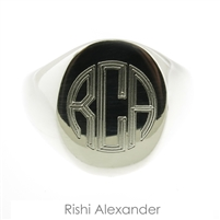 Rishi Alexander Sterling Silver Mens Oval Signet Ring Highly Polished