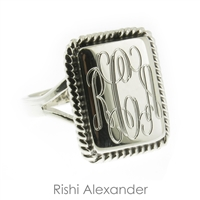 Rishi Alexander Sterling Silver rectangular Signet Ring Highly Polished with a Rope Edge