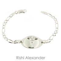 925 sterling silver medical ID bracelet with medical conditions engraved on the back