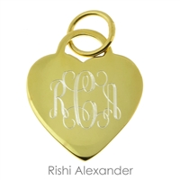 Rishi Alexander 14k gold over Sterling Silver Vermeil personalized heart monogram pendant