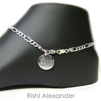 925 steling silver figaro link 4mm personalized engraved monogram anklet