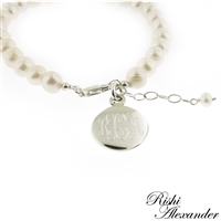 925 steling silver and freshwater pearl monogram bracelet