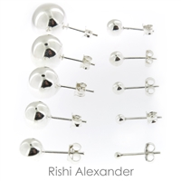 Ball stud earrings that are made form solid 925 sterling silver that sizes 2mm perfect for cartilage upper ear to 14mm perfect for lower ear lobe available stamped 925 sold by Rishi Alexander