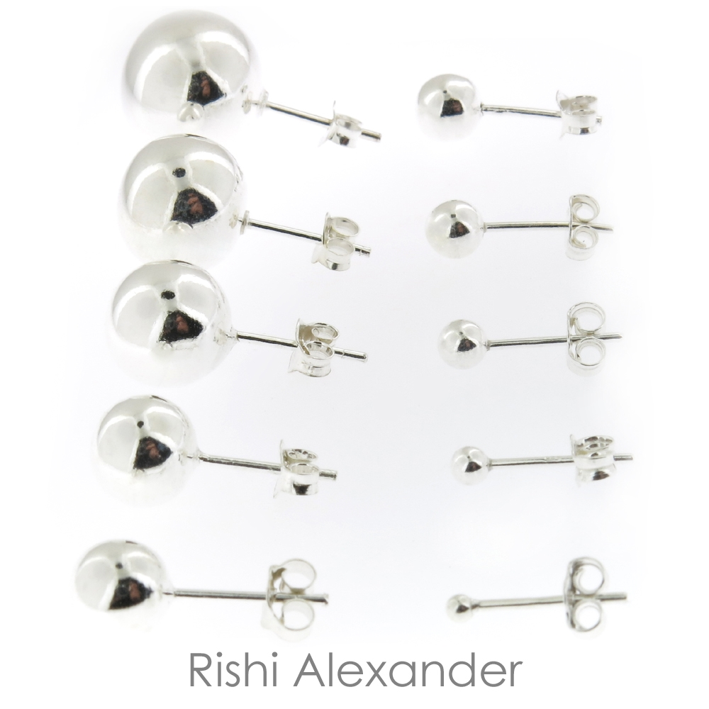 Sterling Silver (925 Stamped) Stud Earrings with Butterflies - 2mm Round Ball (other sizes available) IDMO5ivROi