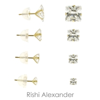 Ball stud earrings that are made form solid 14kt Gold that sizes 2mm perfect for cartilage upper ear to 14mm perfect for lower ear lobe available stamped 925 sold by Rishi Alexander