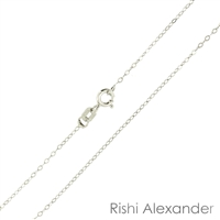 Sterling Silver Rhodium Finish 1mm thin rolo Chain with a spring ring clasp