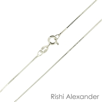 Sterling Silver Rhodium Finish 015 or 1.5mm Box Chain with a spring ring clasp