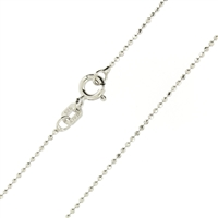 Sterling Silver rhodium plated Diamond Cut Ball Bead Chain 1mm 100 spring ring clasp