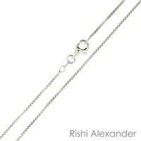 Sterling Silver Rhodium Finish 1mm round Box Chain with a spring ring clasp