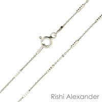 Sterling Silver Rhodium Finish tube brite Chain with a spring ring clasp