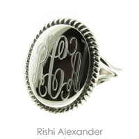 Rishi Alexander Sterling Silver Oval Signet Ring Highly Polished with a Rope Edge