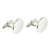 Palladium Finish oval cufflinks groomsmen or wedding gifts personalized monogrammed by Rishi Alexander