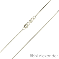 10k white gold diamond cut wheat also know as spiga chain 0.6mm made in italy stamped 10kt