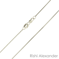 14k white gold diamond cut wheat also know as spiga chain 0.6mm made in italy stamped 14kt