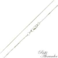 14k white gold box chain 0.8mm made in italy stamped 14kt