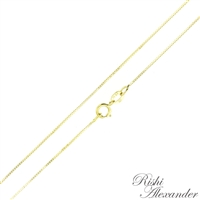 14k gold box chain 0.6mm made in italy stamped 14kt