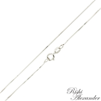 14k white gold box chain 0.6mm made in italy stamped 14kt