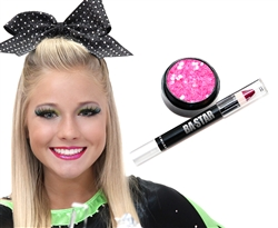 Hot Pink Glitter Lips Cheer or Dance Essentials Makeup Kit