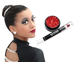 Cranberry & Red Glitter Lips Cheer or Dance Essentials Makeup Kit