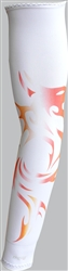 UV Sun Safe Arm Sleeves with tattoos  (pair)-White With Red/Orange Flames