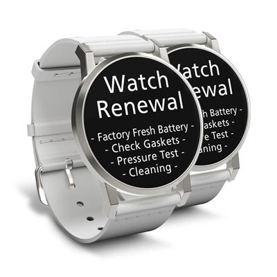 Watch Renewal for 2 Standard Grade Quartz Watches (Battery, Pressure Test, Cleaning)