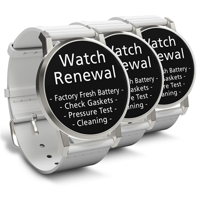 Watch Renewal for 3 Standard Grade Quartz Watches (Battery, Pressure Test, Cleaning)
