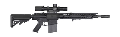 "Knight's Armament SR-25 Enhanced Combat Carbine (ECC) with 16"" Chrome Lined Dimpled Barrel, Flash Hider and Collapsible Stock"