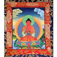 Small Amitabha Brocade Hand Painted Thangka