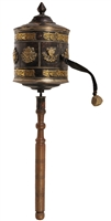 Large Prayer Wheel with Auspicious Symbols and Mani Mantra Ships Free Worldwide