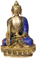 Medicine Buddha Brass Statue with Inlays 8.5 Inch