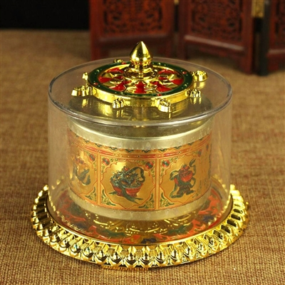 Gold Plated 8 Auspicious Symbols Table Top Prayer Wheel